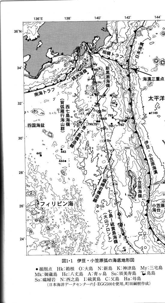 伊豆・小笠原弧の海底地形図