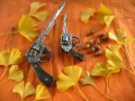 落ち葉と回転式ゴム銃