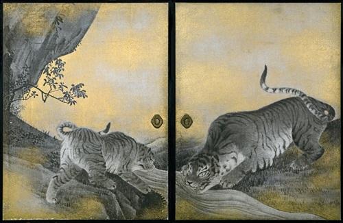 表書院 虎の間 遊虎図 水呑みの虎  円山応挙 天明7年(1787)<br />