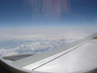 飛行機の中・・・