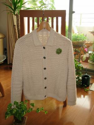 かぎ針編みのコットンジャケット