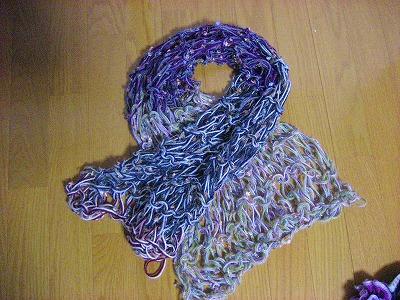 ゆびガーター編みマフラー
