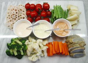 茹で野菜・3種のソース♪