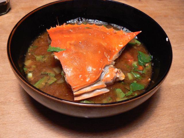 ワタリガニの味噌汁