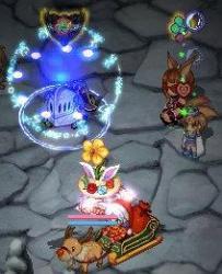 アイス帽龍とハートカチュ狐