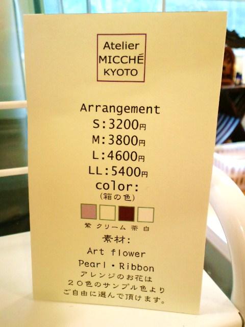 箱アレンジの値段表