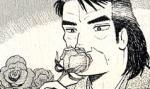 薔薇に口付けして朝露と蜜を口に含む耽美な雄山たん