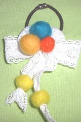 ヘアゴム リボンと羊毛ボール A