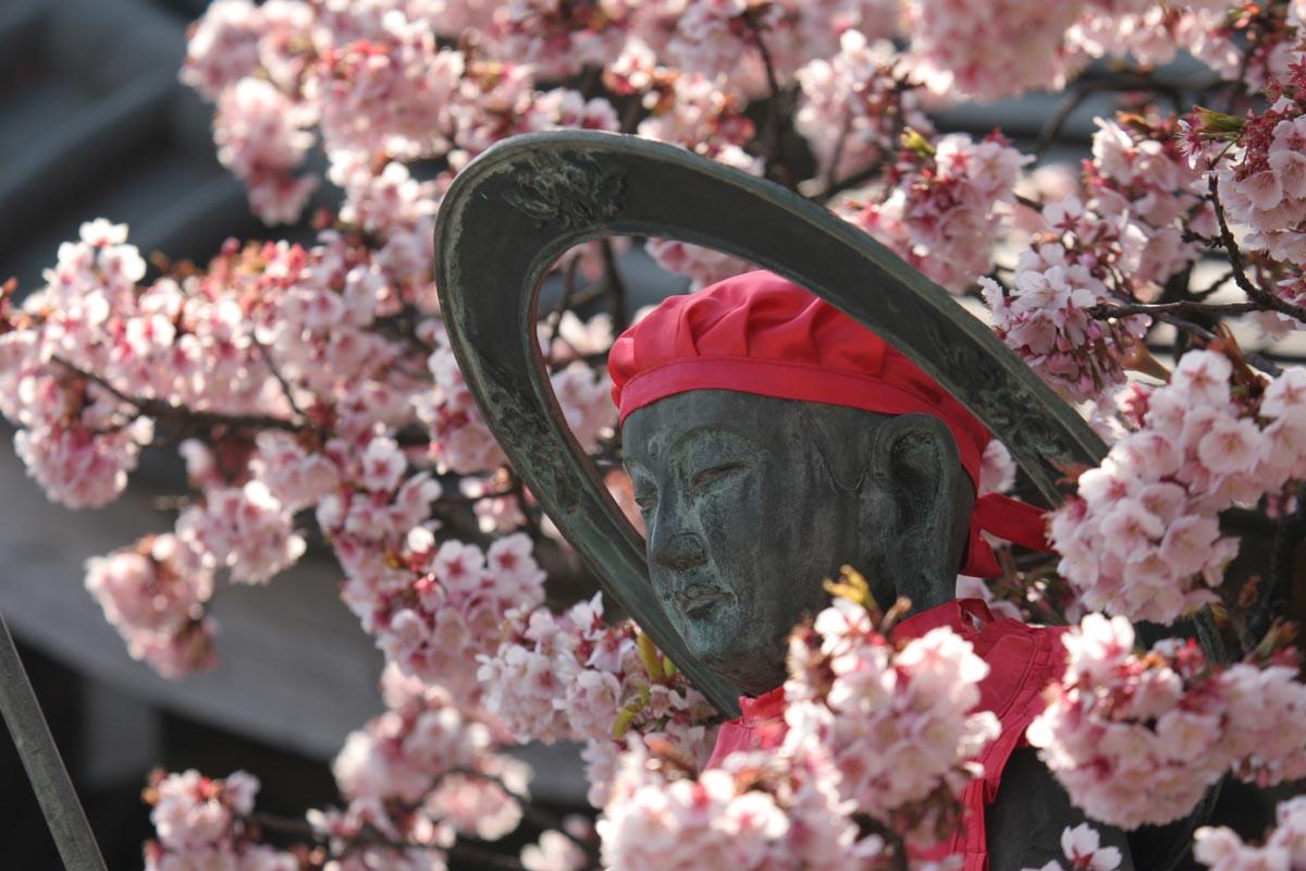 桜とお地蔵さん