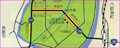 大潟村菜の花・桜ロードの地図
