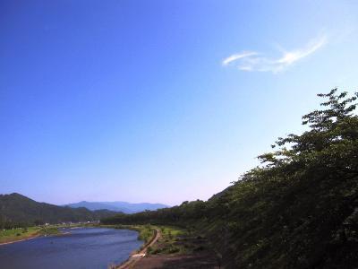 鮎つり(桧木内川堤よりの風景)