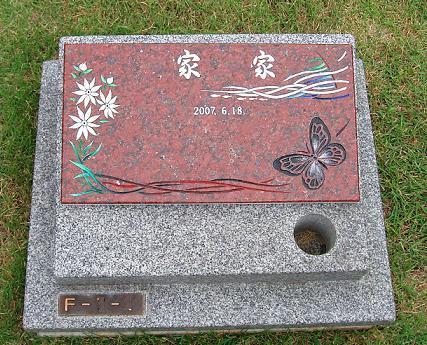 墓石プレート 「想い出黒蝶と島と花」