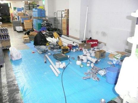 排水管鋳鉄管~塩ビ管へ取替え工事 神戸市