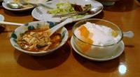 四川風すっぱいスープと杏仁豆腐