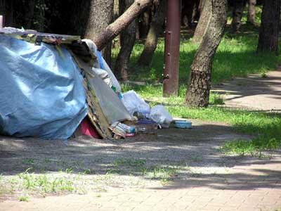 blue sheet tent