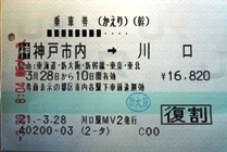 乗車券(神戸→川口)