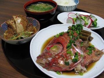 金目鯛のかぶと煮&厚揚げのピリ辛ゴマ煮