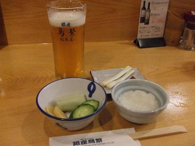 銀座 鳥繁  ビールで乾杯~