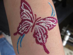 ピンク・シルバー蝶300