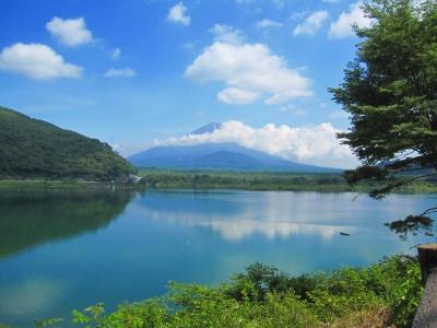 精進湖1周、すこし富士山見れました!