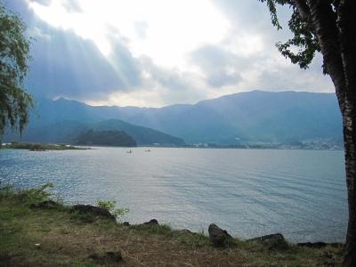 空からの光が綺麗な河口湖