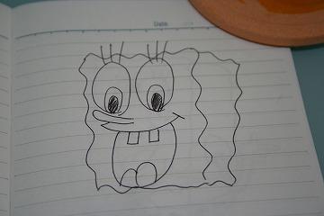 妹が描いたスポンジボブ。なかなか。