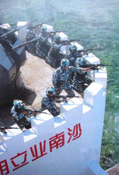 中國海軍南沙永暑礁守兵射#25802;訓練