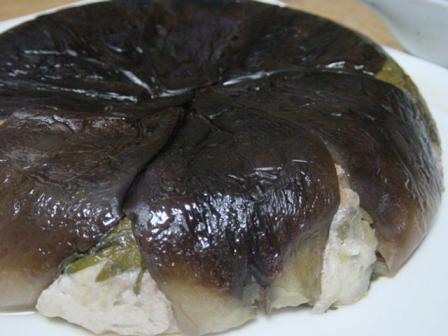 茄子の帽子の豆腐ハンバーグ