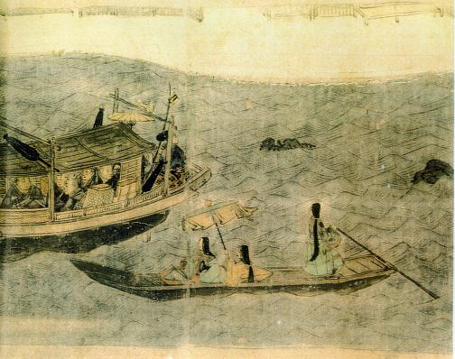 端舟に乗る遊女
