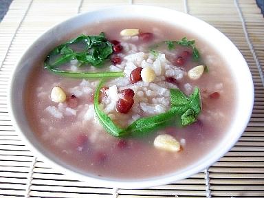 松の実と小豆のお粥