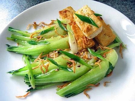 青梗菜と豆腐のじゃこ炒め煮