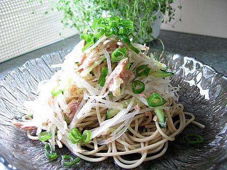 ツナと大根のサラダ蕎麦