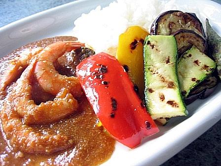 エビとグリル野菜のカレー