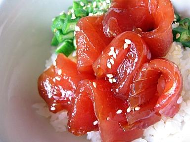昆布醤油ダレで★まぐろの漬け丼3