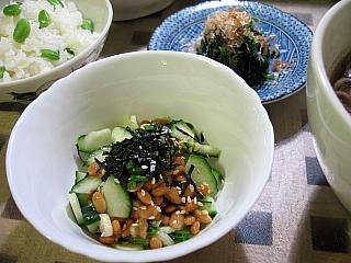 納豆ときゅうりの辛し和え&ほうれん草のお浸し