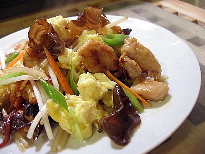 卵、きくらげ、豚肉炒め(木須肉)