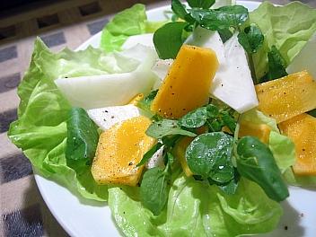 柿とかぶとクレソンのサラダ