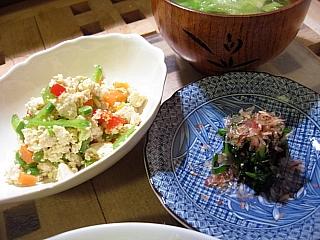 炒り豆腐&ほうれん草のお浸し