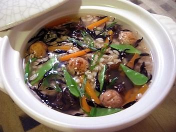ひじきと茸の丸麦雑炊2