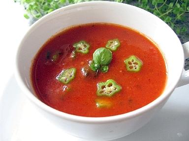 トマトとオクラの冷製スープ