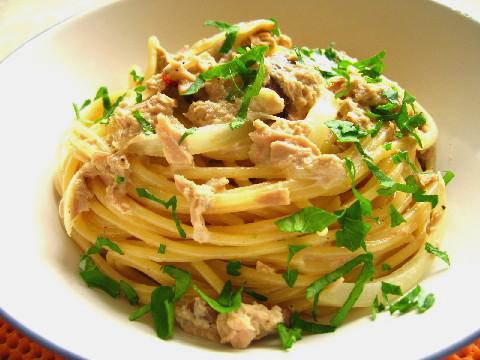ツナとキノコのスパゲティクリームソース2