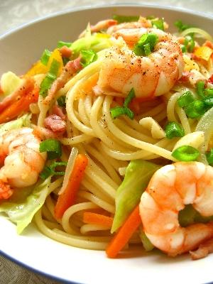 エビと野菜の塩スパゲティ