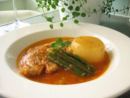 豚肉と大根のトマト煮オレガノ風味