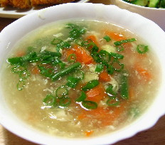 鶏と野菜のかき玉スープ