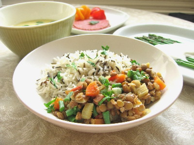 レンズ豆とベーコンの野菜煮込み