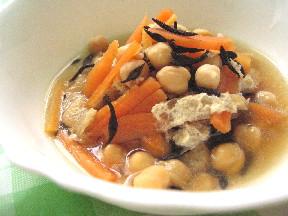 ひよこ豆とひじきのレンジ煮