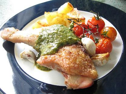 鶏のニンニクロースト和風パセリソース