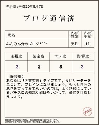 ブログ通信簿2008.8.7