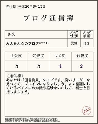 ブログ通信簿8.13
