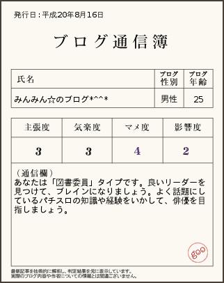 ブログ通信簿8.16
